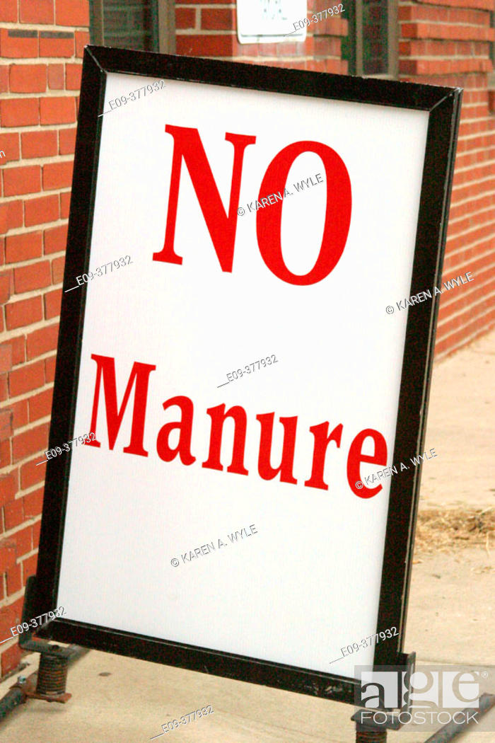 Stock Photo: 'No Manure' sign outside horse barn at State Fair, Indianapolis, Indiana, USA.