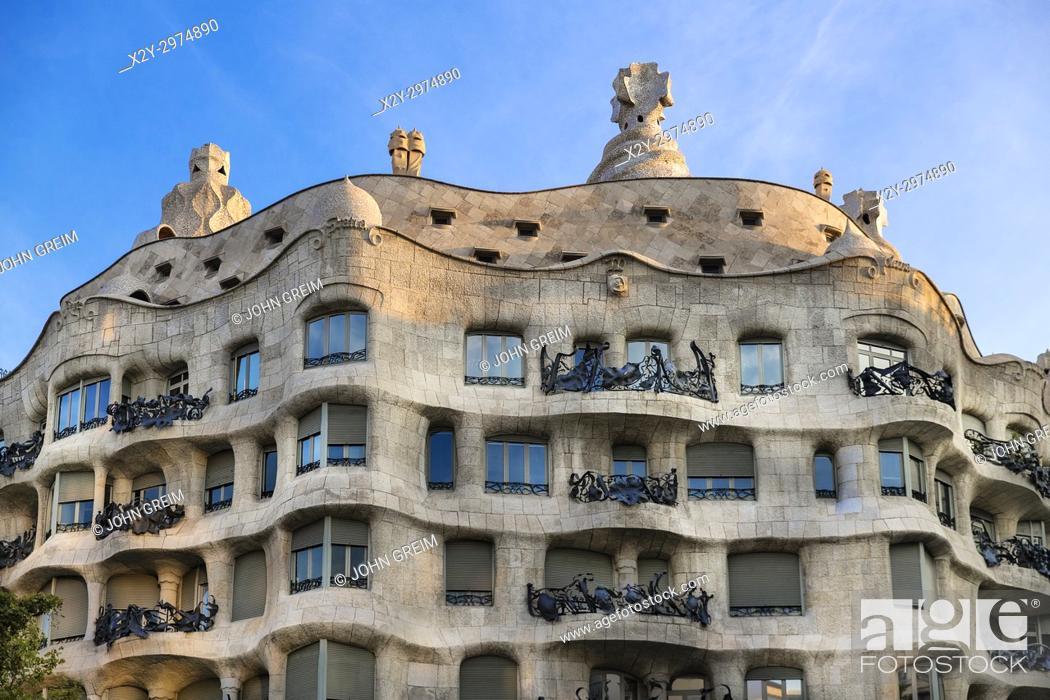 Stock Photo: La Pedrera, Casa Milà house designed by Antonio Gaudi, Barcelona, Spain.