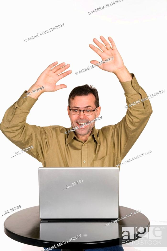 Stock Photo: Man with computer.