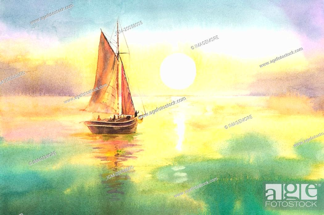 Stock Photo: Flower, Watercolor painting of a sailboat on the sea under sunset.