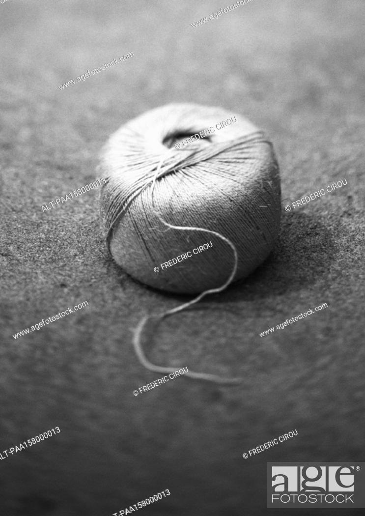 Stock Photo: Ball of string, b&w.