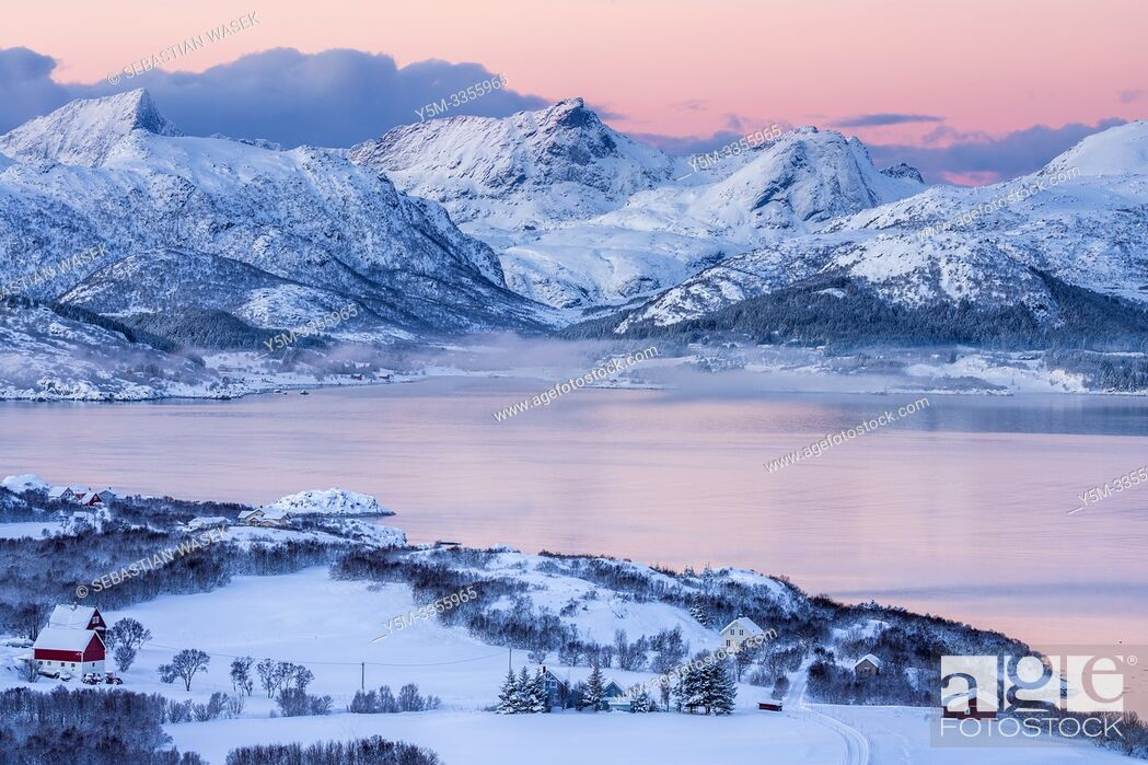 Stock Photo: Buksnesfjorden seen from Lattershaugen near Leknes, Lofoten, Nordland, Norway, Europe.