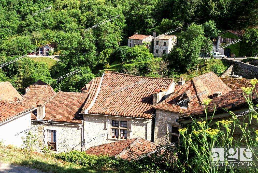 """Stock Photo: Saint-Cirq-Lapopie is a commune in the Lot department in south-western France. It is a member of the Les Plus Beaux Villages de France (""""""""The most beautiful."""