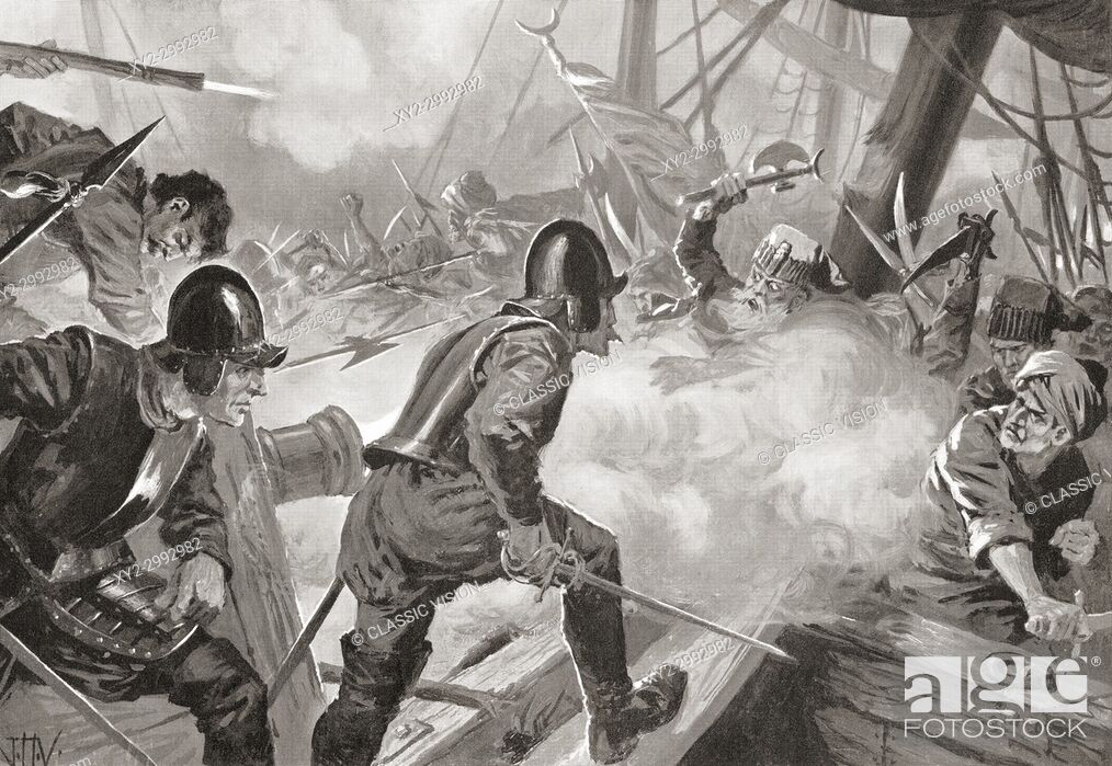 Stock Photo: The Battle of Lepanto, 1571. After the painting by J. H. Valda, d. 1941. . From Hutchinson's History of the Nations, published 1915.