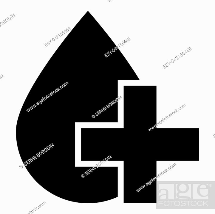Stock Vector: Drop and cross icon black color vector illustration flat style simple image.
