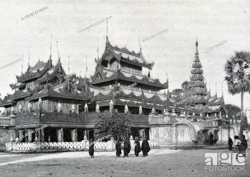 Stock Photo: Golden convent of the queen  Temple carved teak wood, entirely covered with gold  In Mandalay, the last capital of the kings of Burma, Travel of Dr  Kurt Boeck.