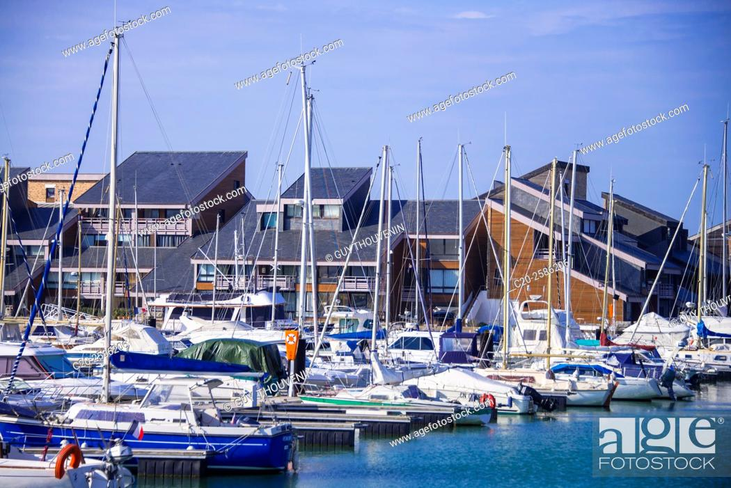 Stock Photo: Sails boats, marina and houses, Deauville, 14800, Normany, France.