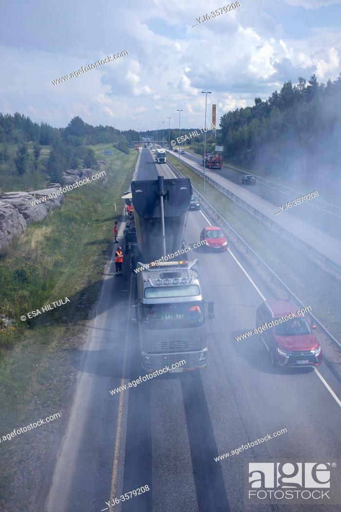 Stock Photo: Highway resurfacing in progress, Lappeenranta Finland.