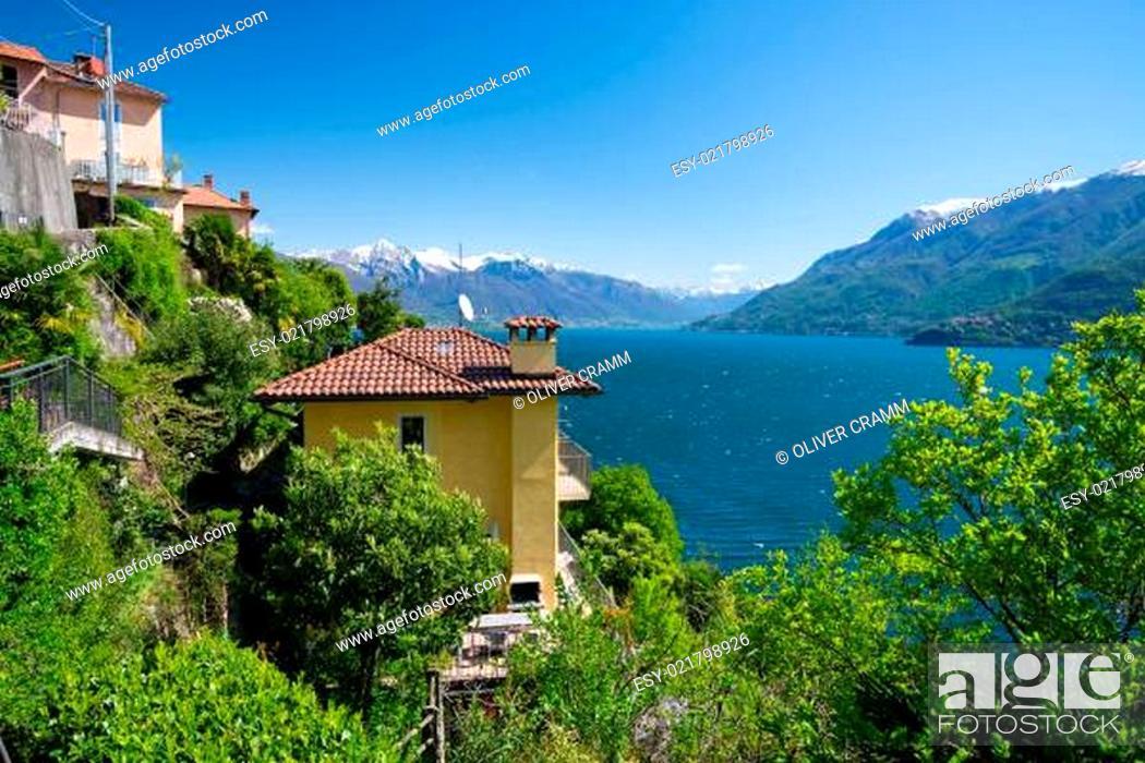 Stock Photo: Blick von San Bartolomeo auf den Lago Maggiore.