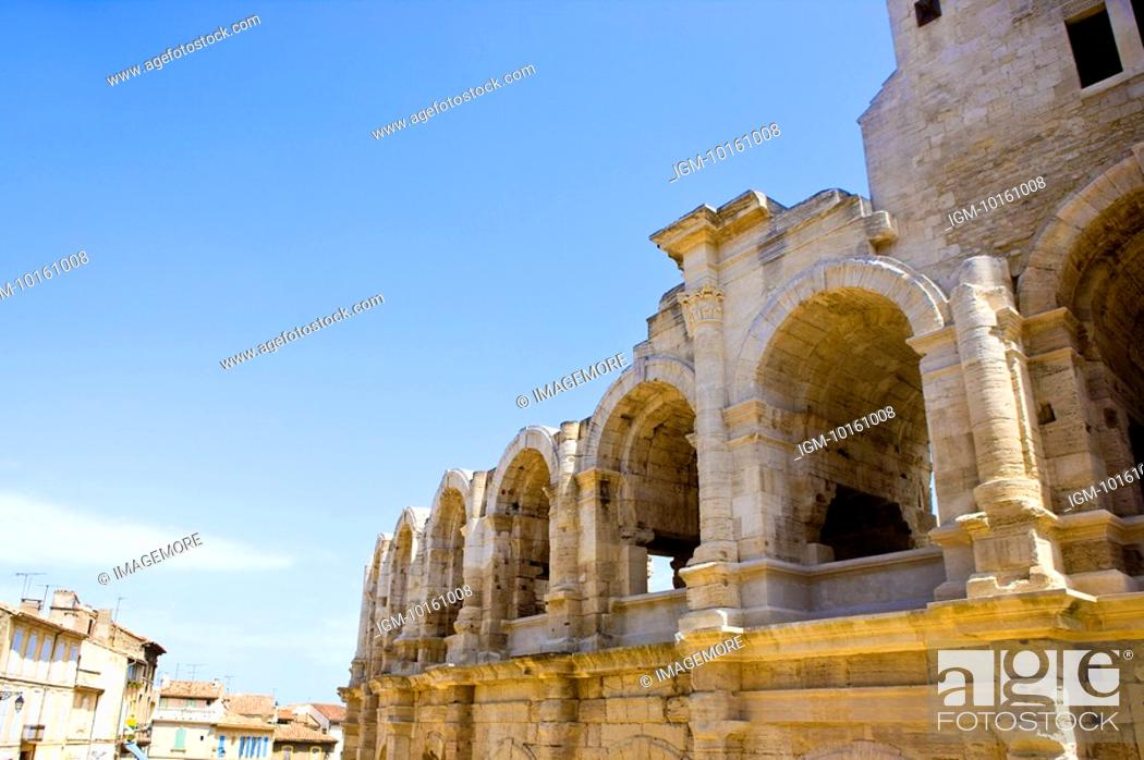 Stock Photo: Antique Roman amphitheater's in Arles, Provence-Alpes-Cote d'Azur, France.