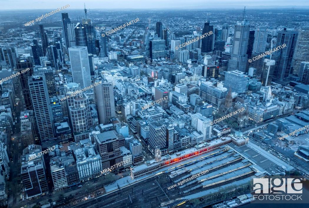 Stock Photo: Australia, Melbourne, city overview in the evening.