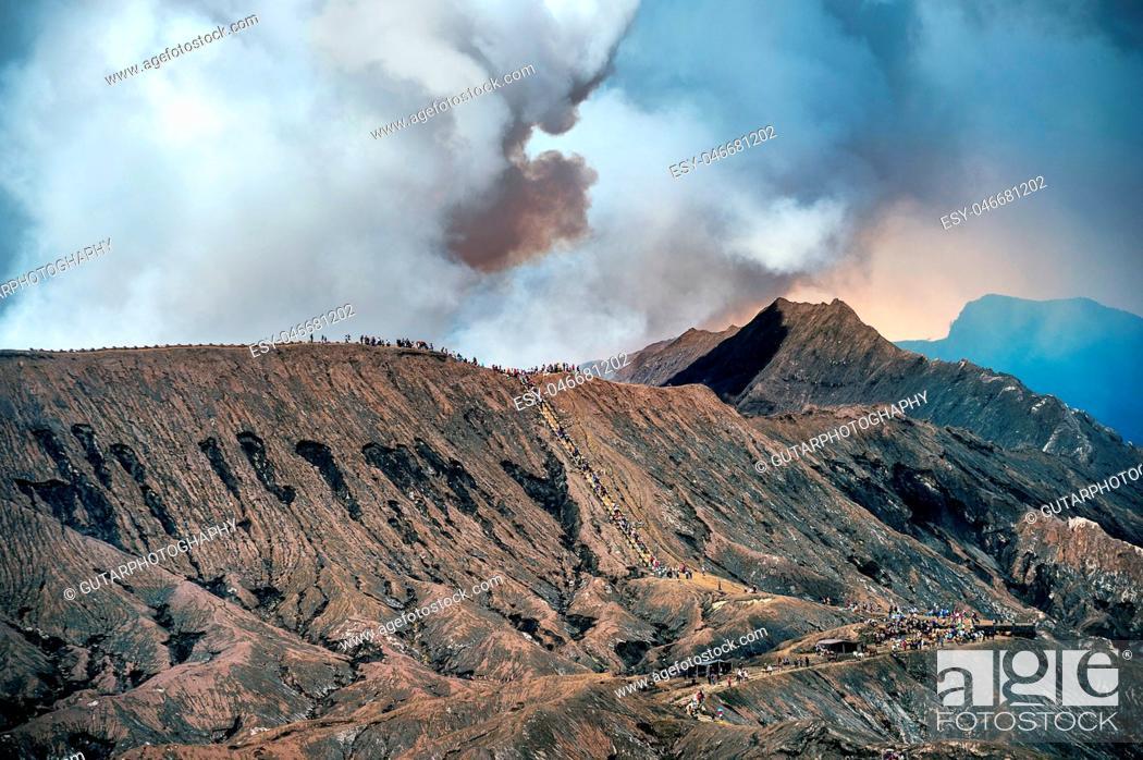 Stock Photo: Mount Bromo volcano (Gunung Bromo)in Bromo Tengger Semeru National Park, East Java, Indonesia.