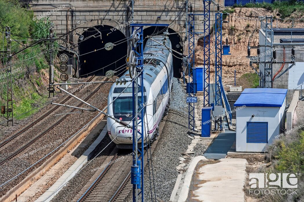 Stock Photo: High speed train AVE. LLeida. Spain.