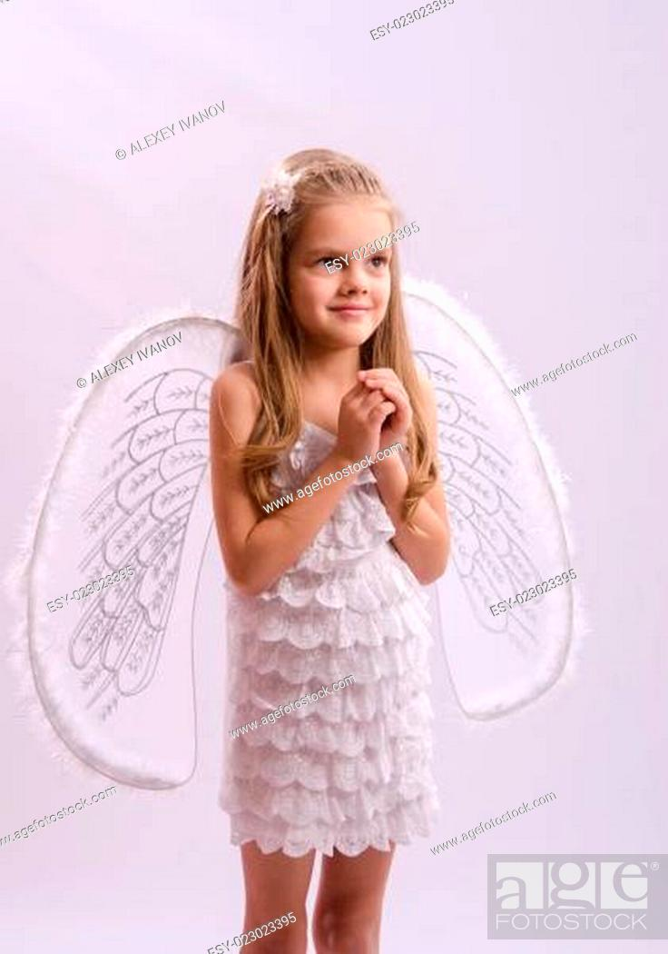 Stock Photo: Portrait of a Girl in angel costume.