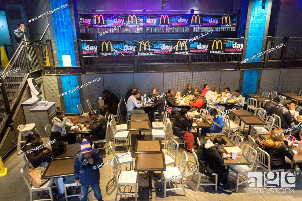 Stock P O Diners In A Mcdonalds Franchise In New York Under An All Day Breakfast Promotion On Sa Ay October 24 2015 Mcdonalds Corp Reported