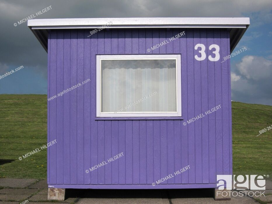 Stock Photo: Weather, bath cabin, Dagebüll, Germany, Europe.