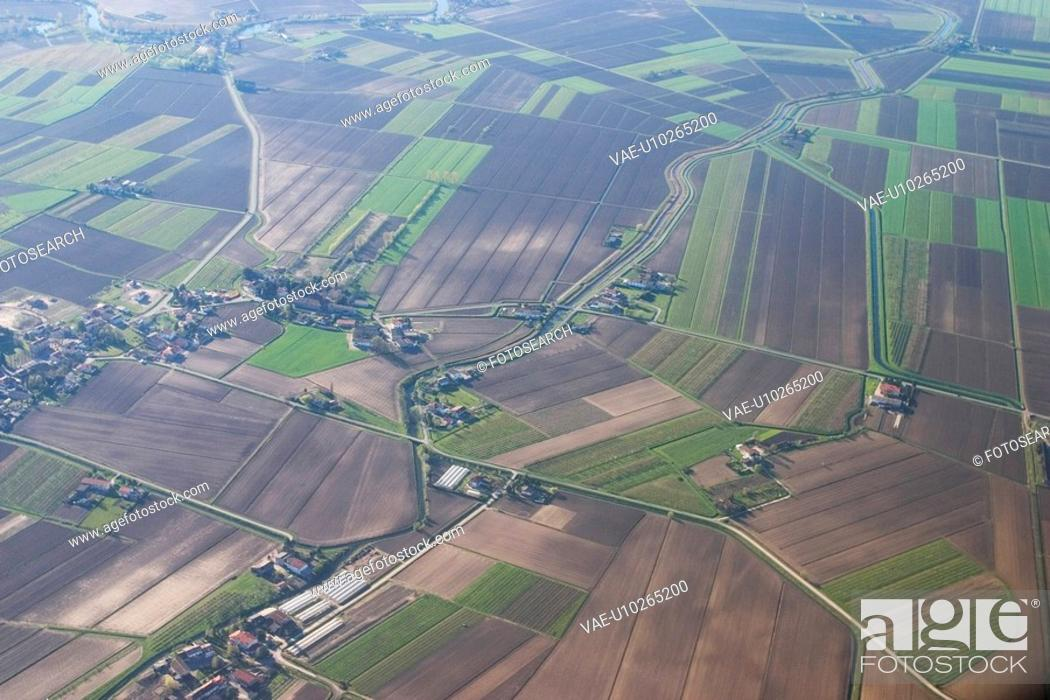 Stock Photo: land, aerial view, fields, picturesque, view, aerial.