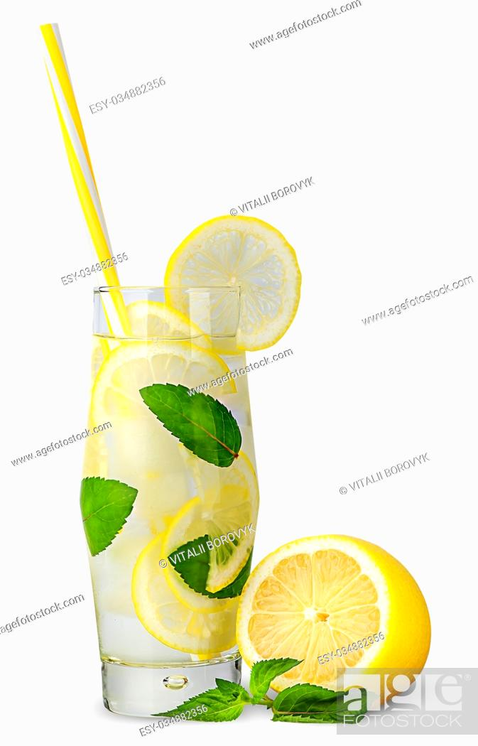 Stock Photo: Glass of lemonade with straw isolated on white background.