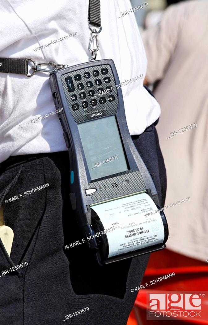Stock Photo: Porter with Casio Handheld Printer Terminal, finished ticket in the printer, harbor cruise, Duisburg-Ruhrort, North Rhine-Westphalia, Germany, Europe.