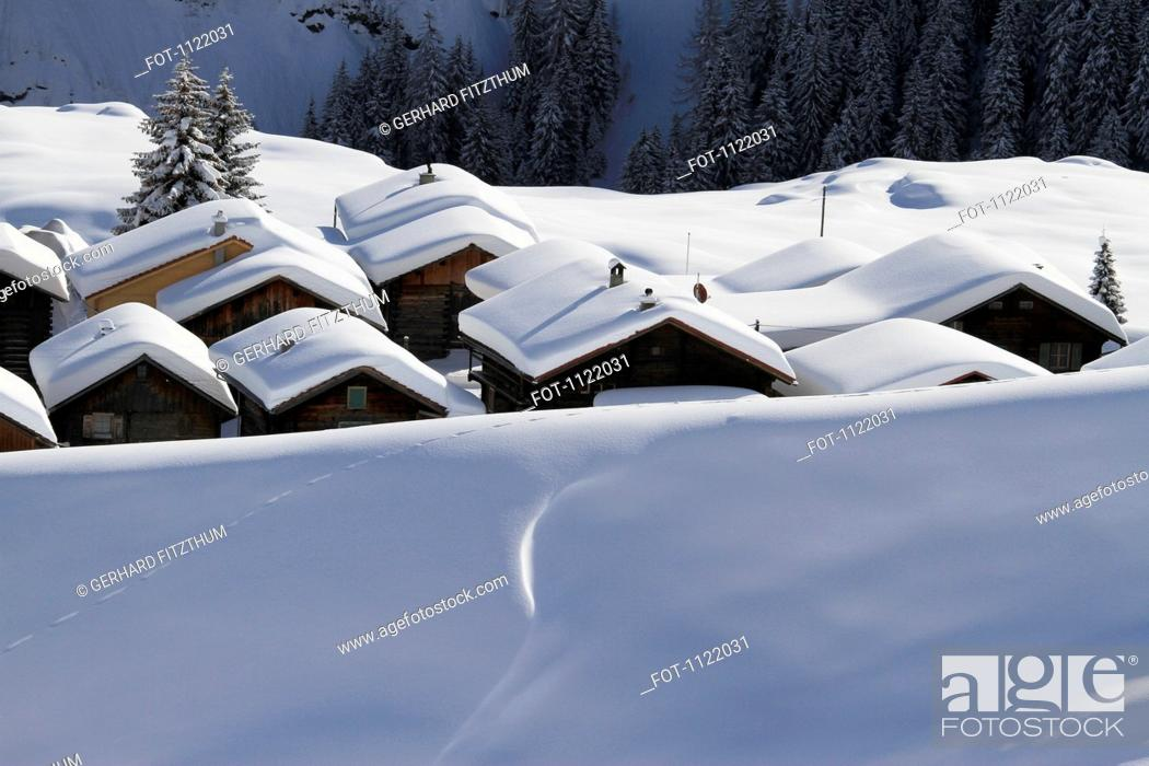 Stock Photo: Snow-capped cabins.