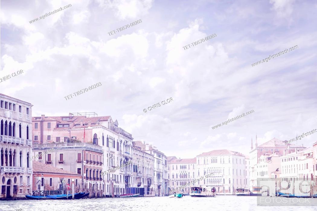 Stock Photo: Italy, Venice, Buildings along Grand Canal.