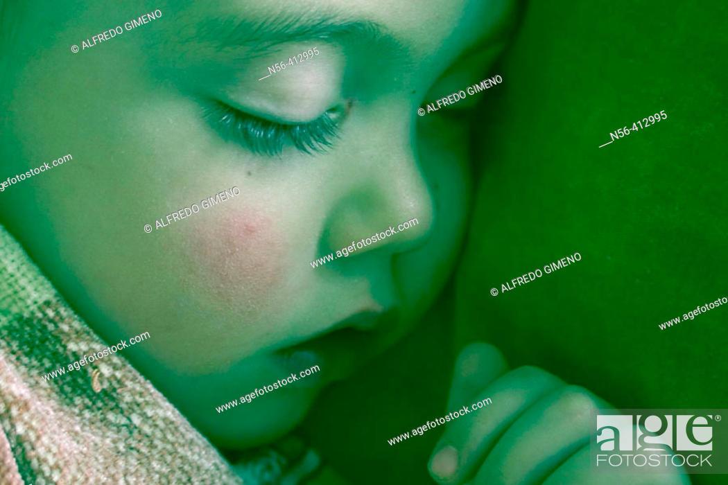 Stock Photo: Close-up of little boy sleeping.