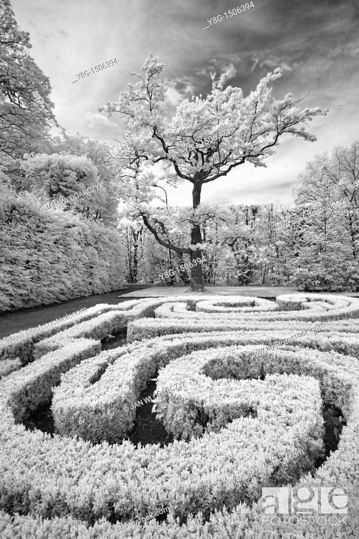 Stock Photo: Infrared Image, Arkadia, Poland, Europe.
