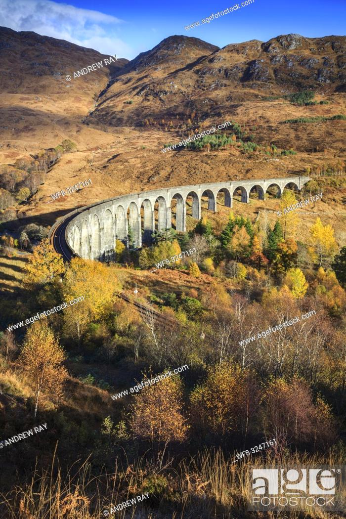 Stock Photo: The Glenfinnan Viaduct in the Scottish Highlands captured from a high vantage point on an afternoon in early November.