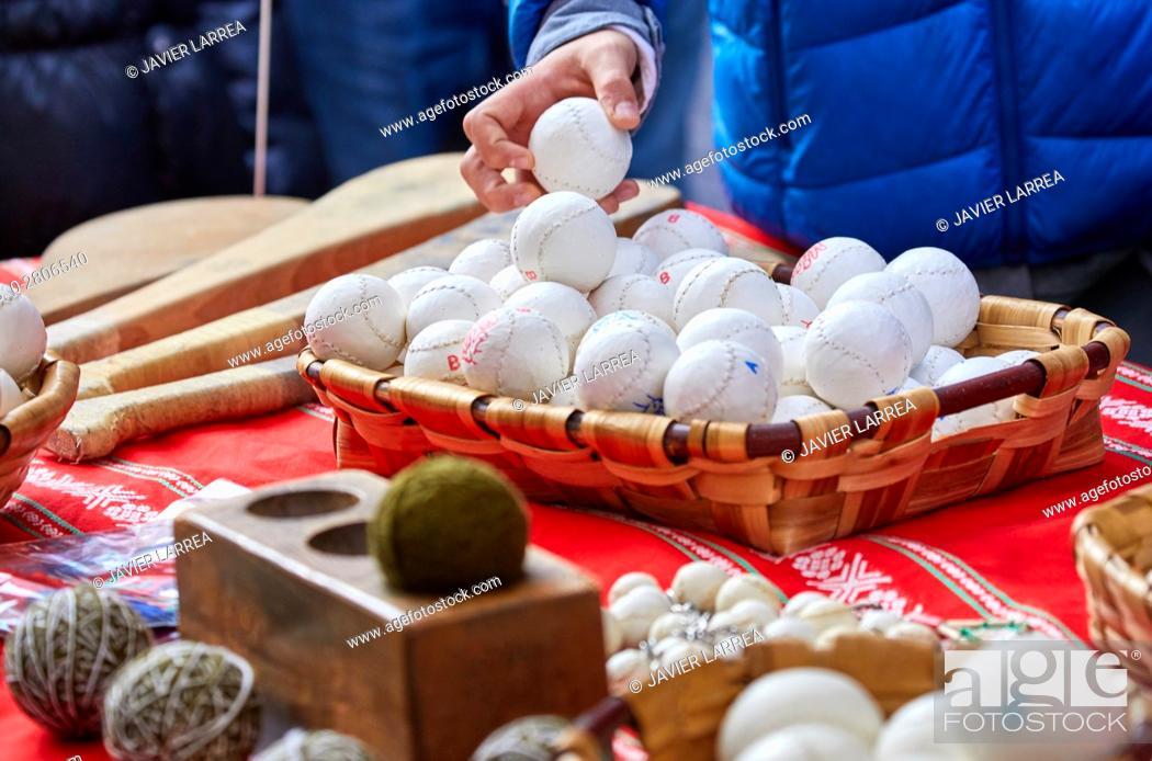 Stock Photo: Pelota Vasca (Basque pelota), Feria de Santo Tomás, The feast of St. Thomas takes place on December 21. During this day San Sebastián is transformed into a.