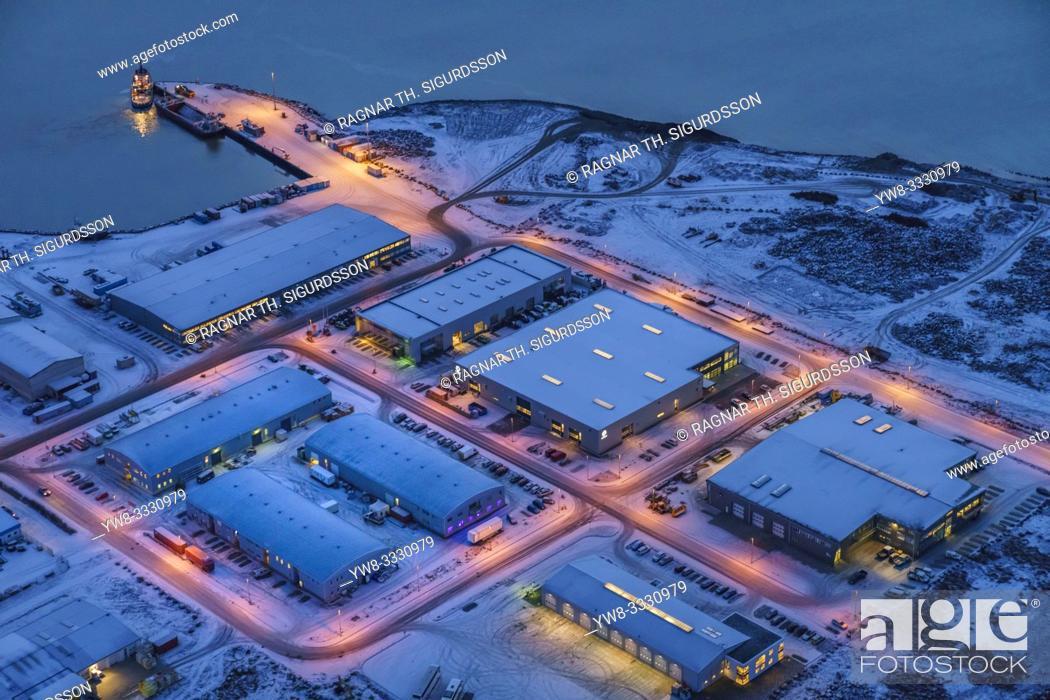 Stock Photo: Aerial - Karsnes, Kopavogur Harbor, suburb of Reykjavik, Iceland.