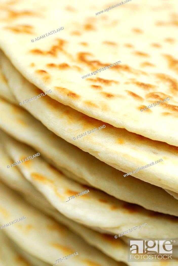 Stock Photo: Ravenna Italy Stack of freshly made piadine, traditional flat bread from Emilia Romagna.