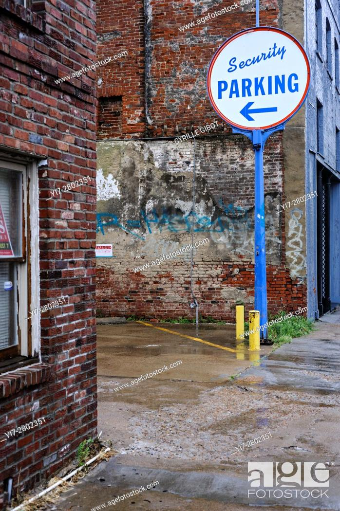 Stock Photo: Parking lot sign, Memphis, Tennessee, USA.