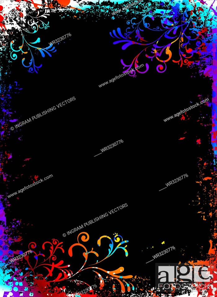 Vector: Rainbow grunge floral background with to add your own copy.