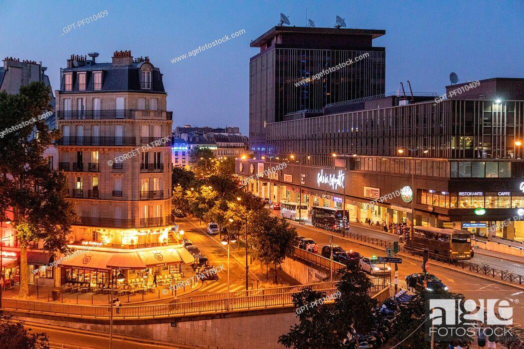 Stock Photo: AFE RESTAURANT CANTAL 15 AND GALERIE LAFAYETTE, RUE DE L'ARRIVEE AND AVENUE DU MAINE, NEIGHBORHOOD OF THE MONTPARNASSE TOWER, 15TH ARRONDISSEMENT, PARIS, FRANCE.