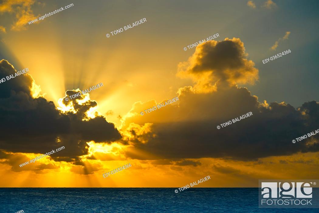 Photo de stock: Riviera Maya sunrise beach at Mayan Mexico.
