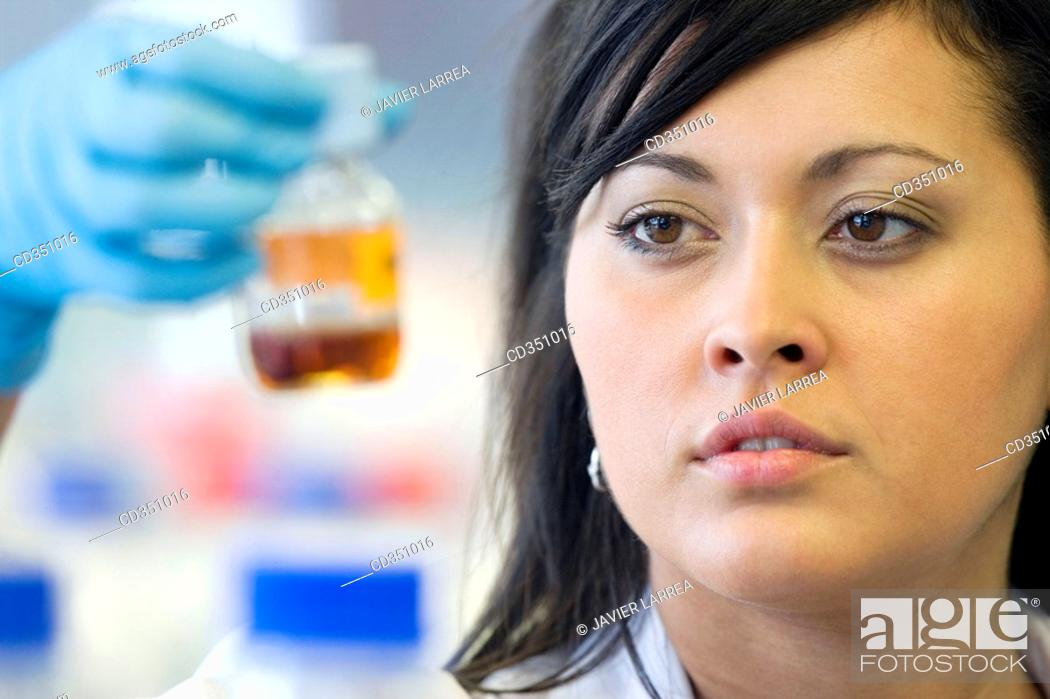 Stock Photo: Researcher, biopharmaceutical lab, development of new therapeutic molecules based on human antibodies for the treatment of infectious and inflammatory diseases.