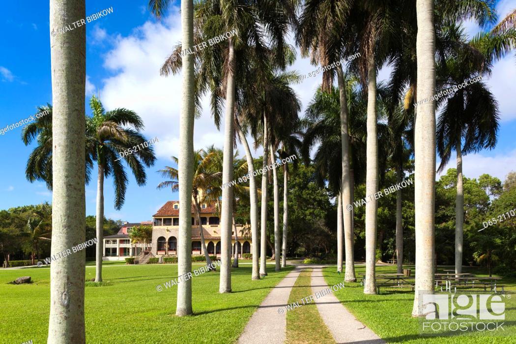 Stock Photo: USA, Florida, Miami-area, Cutler, Deering Estate at Cutler, The Stone House, exterior.
