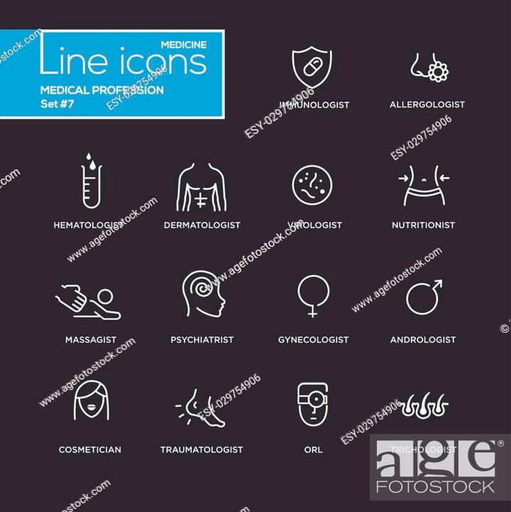 Stock Vector: Medical profession simple thin line design icons, pictograms set with black background. Immunologist, dermatologist, allergologist, traumatologist, psychiatrist.