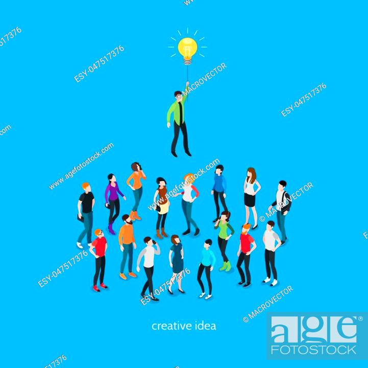 Stock Vector: Idea isometric template with people and unique creative person in crowd on blue background isolated vector illustration.