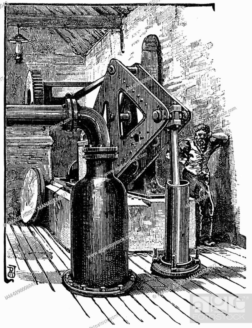 Stock Photo: South Durham Salt Works, England: pumping engine for lifting brine from borehole  Engraving 1884.