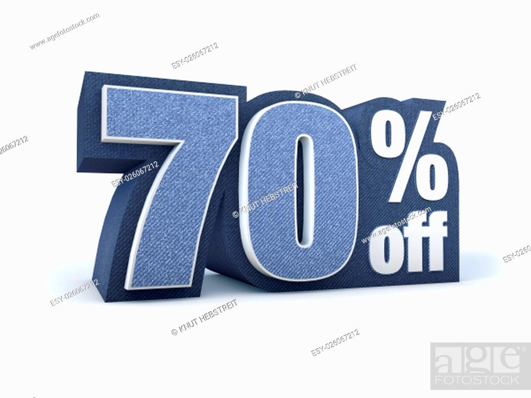 Stock Photo: Discount price sign in blueish denim look, isolated on white background, 3D rendering.
