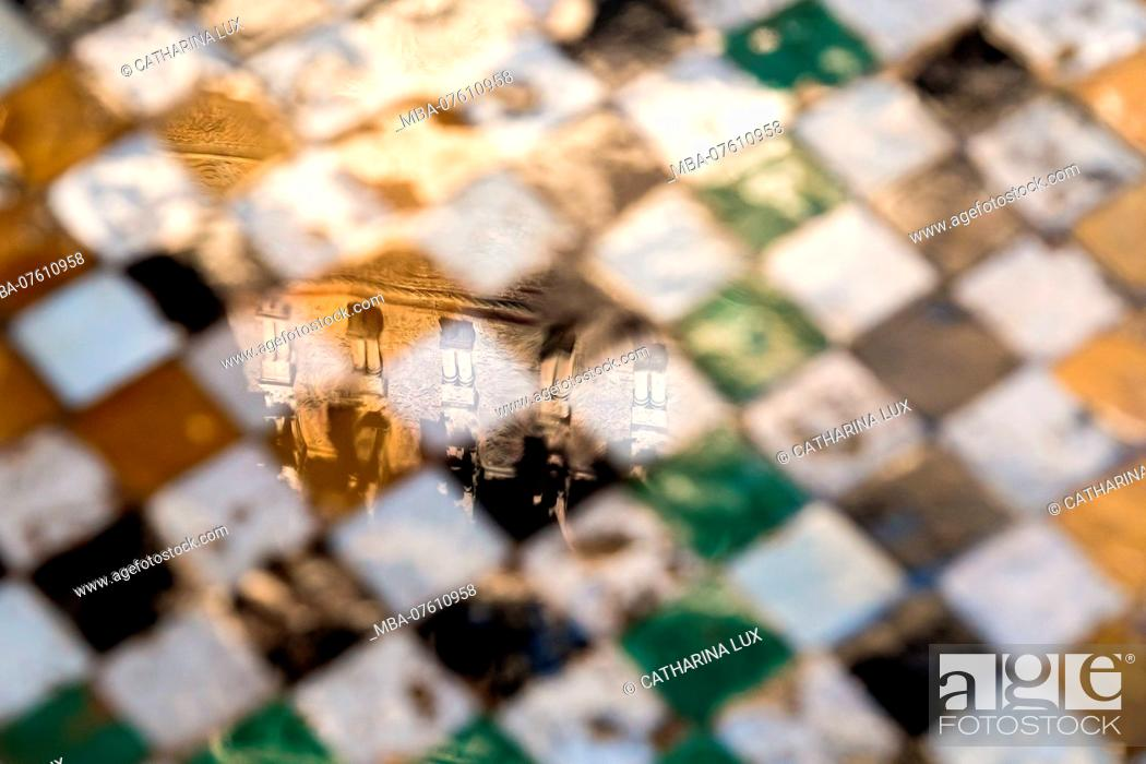 Stock Photo: Morocco, Fez, Medina, Medersa Attarine, former Koranic school, floor, mosaic, reflection.