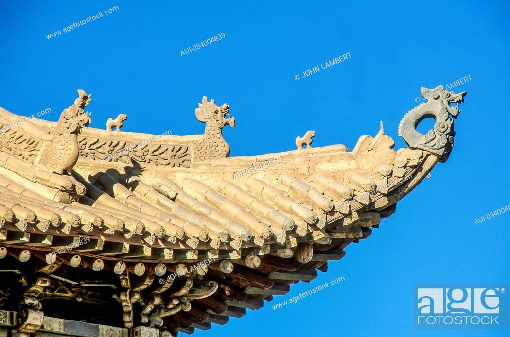 Stock Photo: china, gobi, jiayuguan, the end of the great wall, detail of pagoda roof.