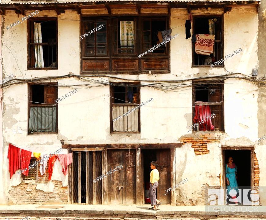 Stock Photo: old nepalese style house , backstreets of kathmandu, nepal.