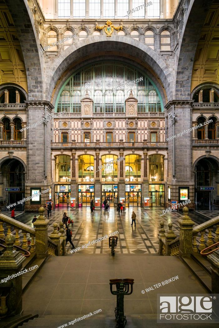 Belgium Antwerp Antwerpen Centraal Train Station 1905 Interior Stock Photo Picture And Rights Managed Image Pic D65 2771688 Agefotostock