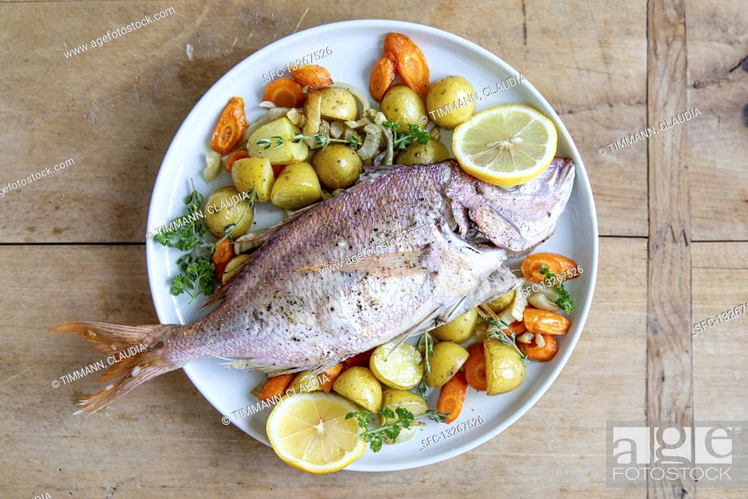 Stock Photo: Bream with a fennel medley.