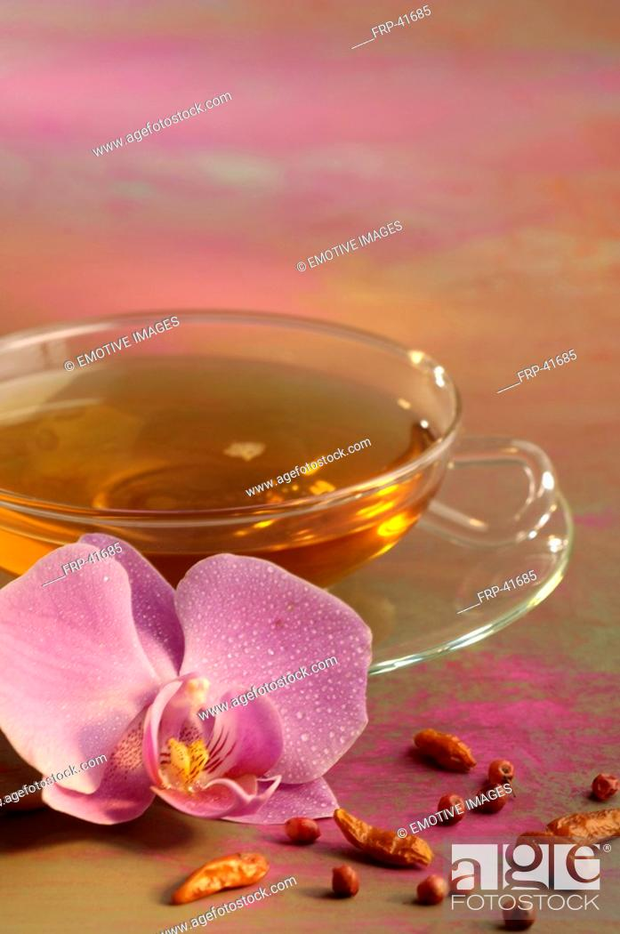 Stock Photo: Tea and orchid blossom.