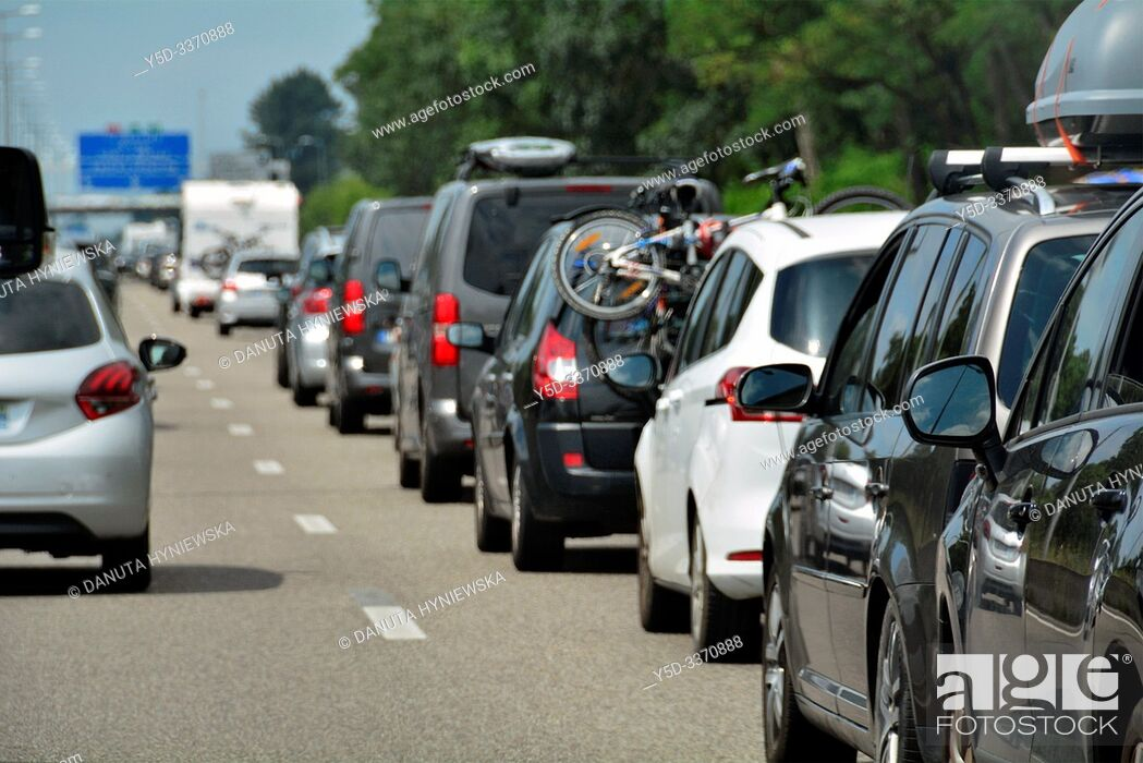 Stock Photo: Stop and go traffic on French highway, motorway, holiday traffic in July, Southern France direction for San Sebastian, France, Europe.