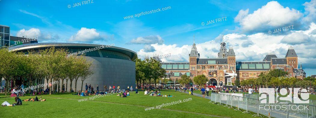 Stock Photo: Van Gogh Museum and Rijksmuseum, Amsterdam, Netherlands.