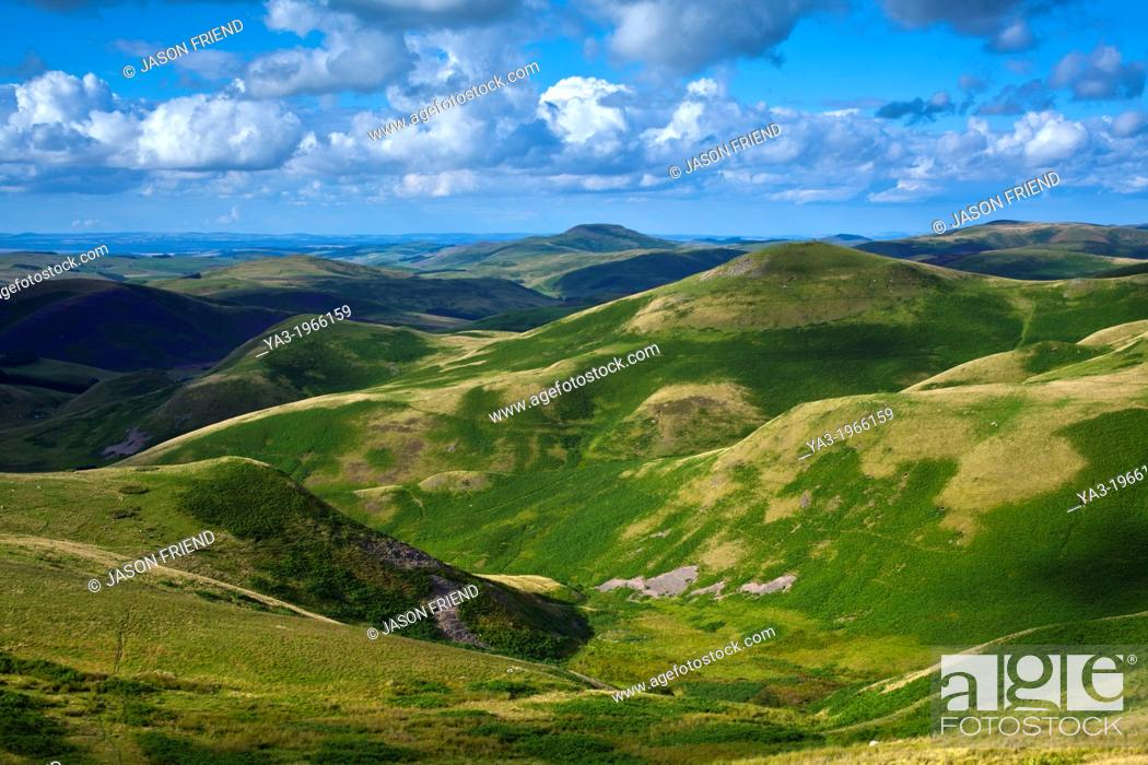 Stock Photo: Scotland, Scottish Borders, English Border / Northumberland National Park. Looking towards Lamb Hill and the Northumberland Cheviot Hills in England from the.